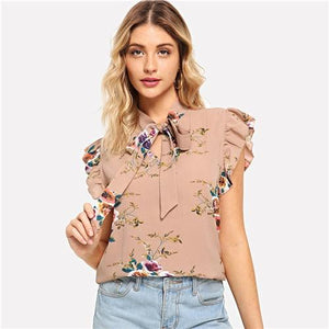 Mustard Elegant Office Lady Flounce Shoulder Tied Neck Floral Solid Ruffle Blouse Summer Women Chiffon Tops and Blouses-Women Clothing-Come4Buy eShop