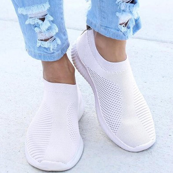Autumn Shoes Women Sneaker Air Mesh Soft Female Sock Knitted Vulcanized Shoes Casual Slip On Ladies Flat Women's Footwear