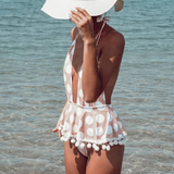 Sexy deep v neck women bodysuit Tassel dot print one-piece swimwear Push up plus size summer beach wear suit overalls-Women Clothing-Come4Buy eShop