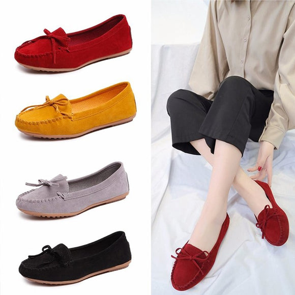 Flat Shoes Women Slip On Casual Loafers Female Bowtie Fashion Suede Moccasions Ballet Flats Shallow Ladies Footwear