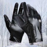 Men's Leather Gloves Velvet Female Waterproof Mittens Luva guantes Screen Touch Hiking Gloves Winter for Hiking Cycling Black-Glove-Come4Buy eShop