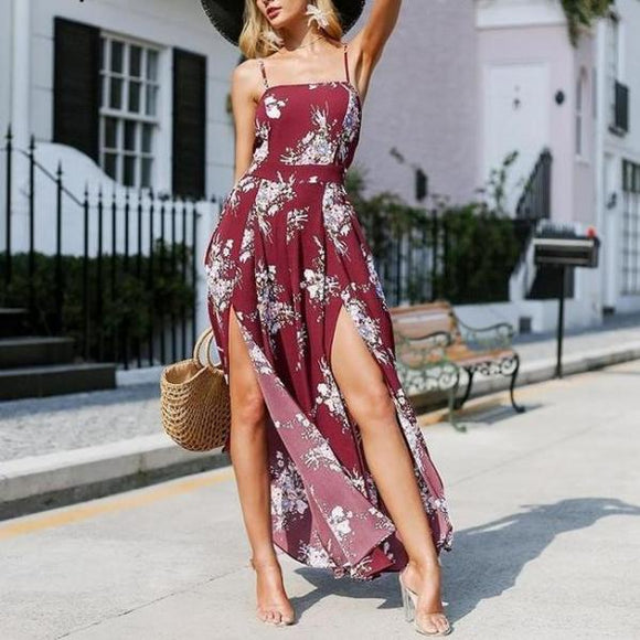 Elegant bohemian beach jumpsuit romper Strap backless sexy jumpsuit overalls Vintage split wide leg summer jumpsuit-Women Clothing-Come4Buy eShop