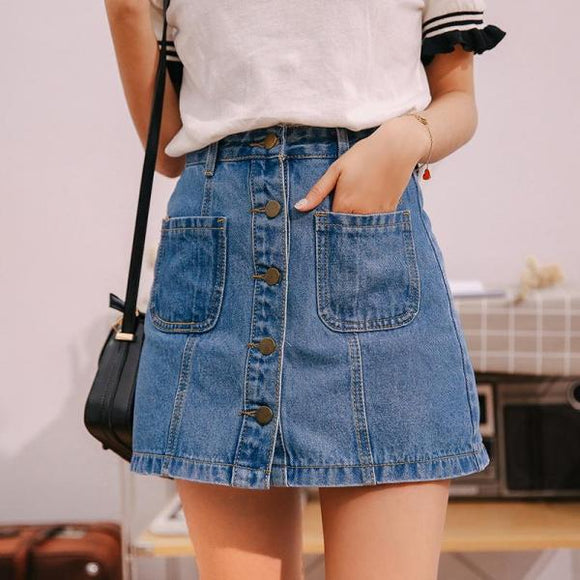 Denim Skirt High Waist A-line Mini Skirts Women Single Button Pockets Blue Jean Skirt Style-Women Clothing-Come4Buy eShop