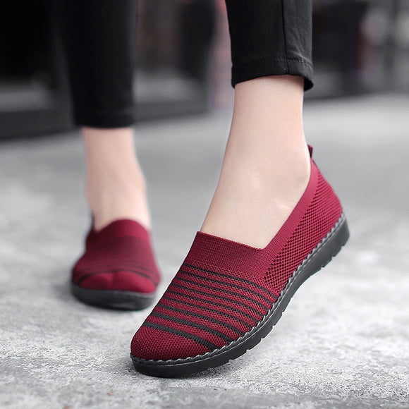 Flat Shoes Women Knitted Mesh Breathable Casual Loafers Female Slip On Ballets  Shallow Walking Mother Shoes Autumn New