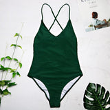 Swimwear Sexy high cut one piece swimsuit Backless swim suit Black White Red  thong Bathing suit female-Women Clothing-Come4Buy eShop