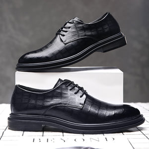 Lace-up Formal Business Shoes Pointed Tide Casual British Leather Shoes Thick Sole Men-Men Shoes-Come4Buy eShop