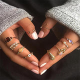 10 Pcs/ set Gem Opening Ring Women Punk Serpent Moon Heart Love Compass Round Pearl  Gold Party Ring Set-Rings-Come4Buy eShop