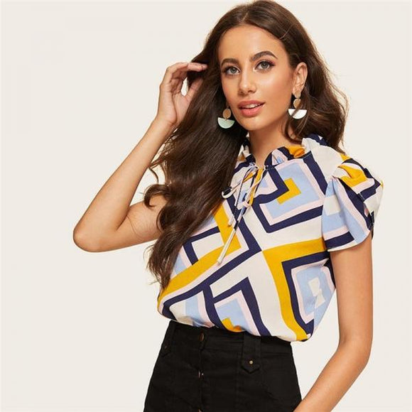 Casual Blouse Women Summer Office Lady Frilled Tie Neck Petal Sleeve Geometric Print Top-Women Clothing-Come4Buy eShop