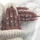 16 Pcs/set Gold Finger Ring Set Boho Charm Wedding Jewelry Women Vintage Gem Crown Crystal Geometry Star Engagement Accessories-Rings-Come4Buy eShop