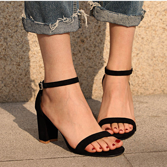 Heel Women Ankle Strap Gladiator Sandals Shoes Fashion Female Sandilas Cover Heel Flock Party Shoes