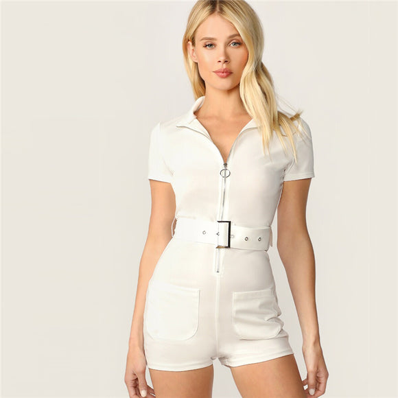 White Zip Front Adjustable Belted Skinny Romper Womens Jumpsuit-Women Clothing-Come4Buy eShop