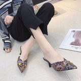 Women Summer High Heels Mules Slippers Ladies Pointed Toe Strange Style Rivet Outside Shoes Woman Fashion Footwear-[product_type]-Come4Buy eShop