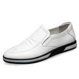 5CM Flat Men Elevator Shoes Leather Casual Men Loafers Slip-on White Lift Shoes Height Increase-Men Shoes-Come4Buy eShop