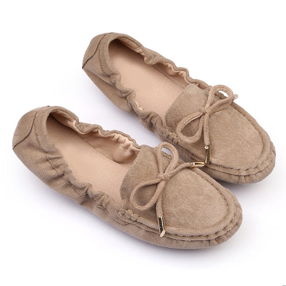 Women Loafers Flat Shoes Bowtie Female Moccasins Slip On Fashion Suede  Shallow Ladies Comfort Ballet Flats Autumn