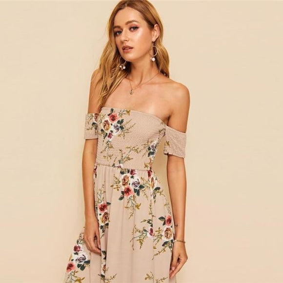 Shoulder Botanical Printi Floral Dress High Waist Modern Lady Women A Line Dresses-Women Clothing-Come4Buy eShop
