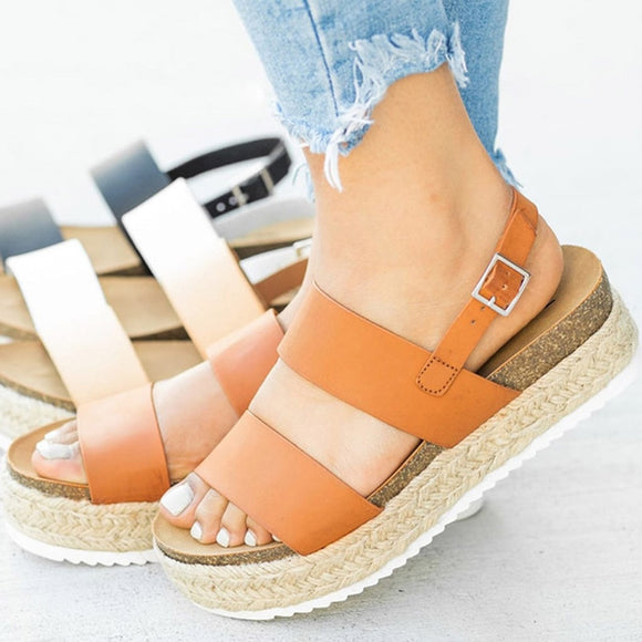 Open Toe Sandals Hemp Platform Shoes Female Casual Ladies Sandals Plus Size