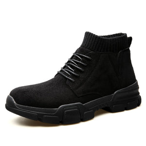 Autumn Winter Boots Ankle Mens Flock Desert Knit Sock Boots Sand Color High-top Platform Boots Men-MEN SHOES-Come4Buy eShop