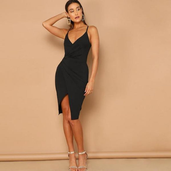 Sexy Black Overlap Split Front Backless Women Straps V Neck Wrap Sheath Club Slim Dresses-Women Clothing-Come4Buy eShop