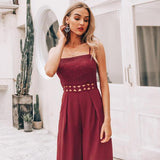 Sexy strap lace hollow out women jumpsuit romper Elegant embroidery wide-leg jumpsuit long overall Solid summer playsuit-Women Clothing-Come4Buy eShop