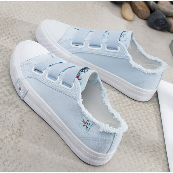 Autumn Women Flats Shoes Canvas Vulcanized Shoes Elastic Band Buckle Fashion Platform Female Flats Ladies Walking Shoes