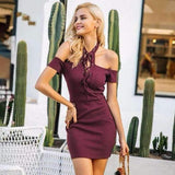 Sexy halter lace up bodycon dress Women cold shoulder hollow out short dress Autumn winter knitted black dress vestido-Women Clothing-Come4Buy eShop