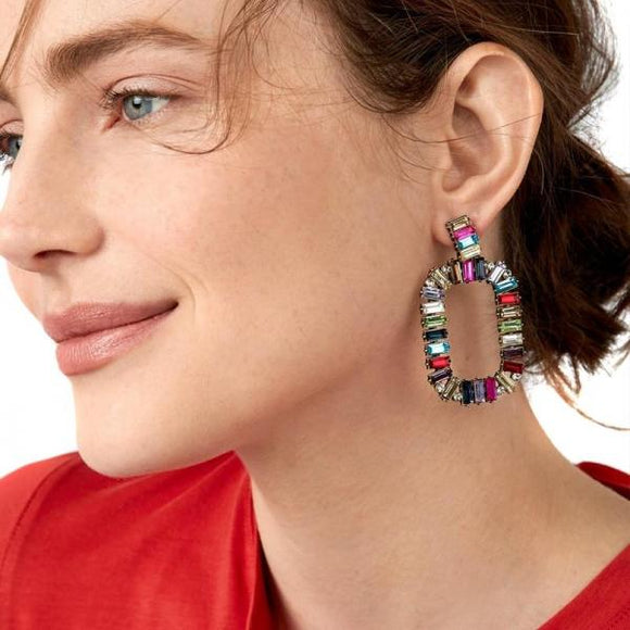 Rainbow earrings jewelry colorful crystal statement fashion square crystal Drop Earrings for women-EARRINGS-Come4Buy eShop