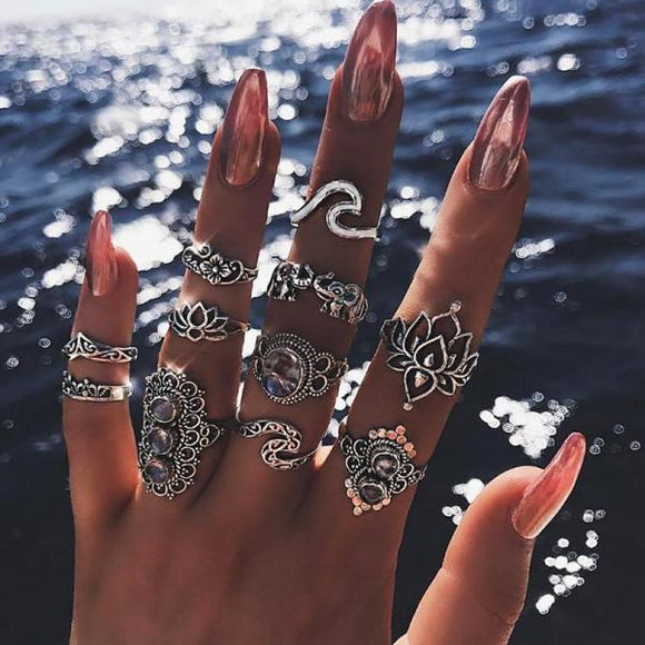 11 Pcs/set Bohemian Beach Retro Elephant Hollow Lotus Wave Gems Geometry Crystal Ring Set Women Charm Jewelry Accessories-Rings-Come4Buy eShop