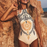 Retro print one-piece women playsuit Sexy stretch female bodysuit Bathing suit summer swimwear black bikini overall-Women Clothing-Come4Buy eShop