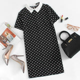 Contrast Collar Polka Dot Straight Dress Womens Black and White Short Sleeve Casual Summer Womens Dresses-Women Clothing-Come4Buy eShop