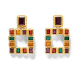 MULTICOLORED SQUARED EARRINGS fashion vintage gold color stud Earrings for women-EARRINGS-Come4Buy eShop
