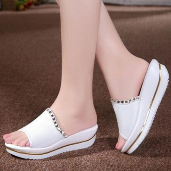 Woman Shoes Platform bath slippers Wedge Beach Flip Flops High Heel Slippers For Women Brand Black Shoes A6W