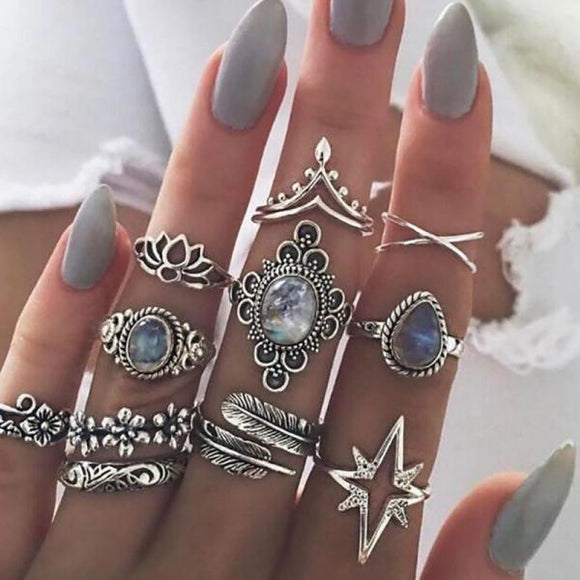 11 Pcs/set  Drop Stars Crystals Gem Joint Ring Lady Party Silver Wedding Ring Women Boho Carving Flowers Leaves Water-Rings-Come4Buy eShop