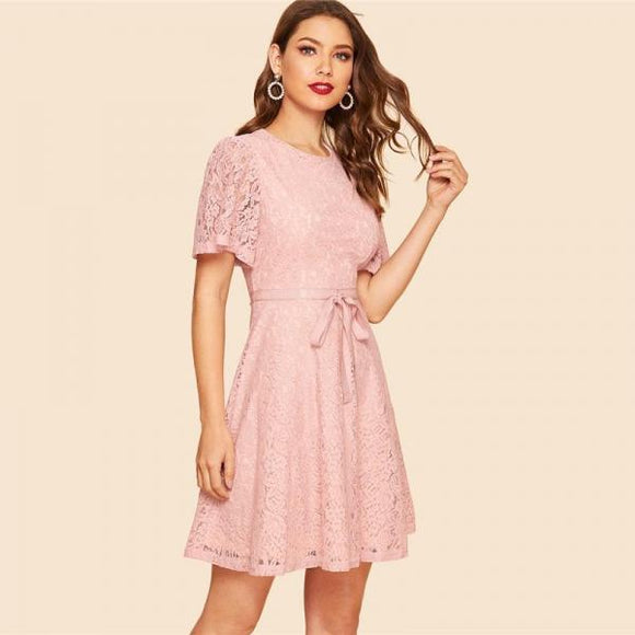 Vintage Pink Knotted Waist Floral Lace Women Casual  Fit and Flare A Line Short Sleeve Dresses-Women Clothing-Come4Buy eShop
