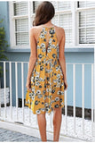 Halter floral print mini dress women Summer style casual boho dress Spring clothes beach short dress vestidos-Women Clothing-Come4Buy eShop