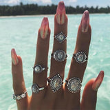 8 Pcs/set Geometry Opal Gem Crystal Silver Ring Set Women Fashion Bohemian Round  Party Wedding Jewelry Gift-Rings-Come4Buy eShop
