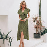Vintage dots print satin women summer dress 2019 Elegant v neck wrap sashes dresses Sexy female party long dress-Women Clothing-Come4Buy eShop