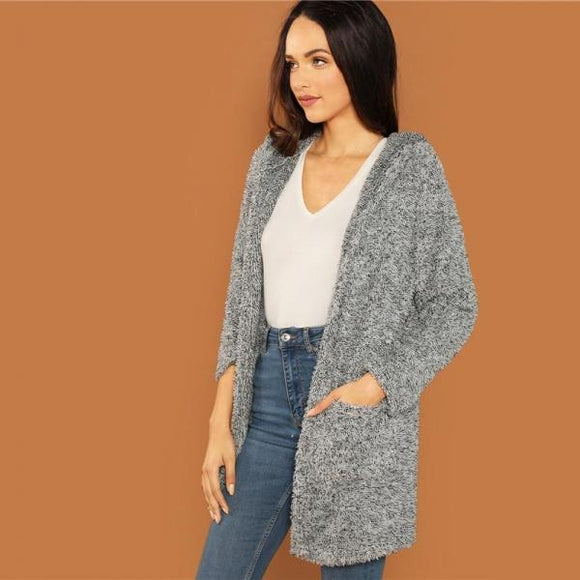 Grey Casual Solid Hooded Pocket Patched Marled Teddy Jacket Autumn Campus Going Out Women Coat And Outerwear-[product_type]-Come4Buy eShop