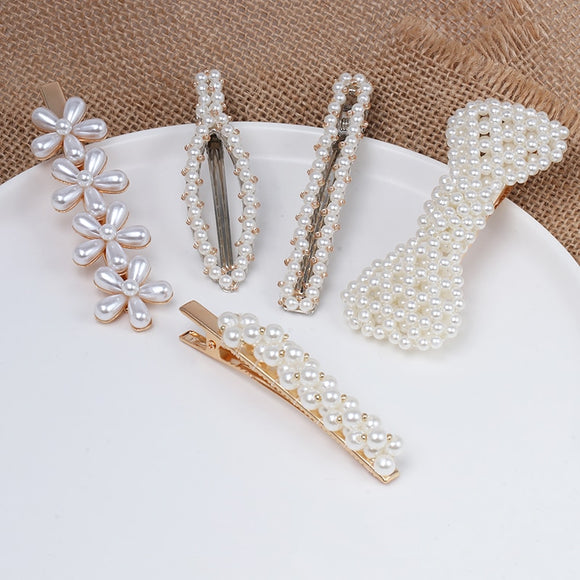 Spring 5  New Style Acrylic Imitation Pearl Women Barrettes Elegant for Women Hair Clip Hairgrips Hair Accessories-HAIR ACCESSORIES-Come4Buy eShop