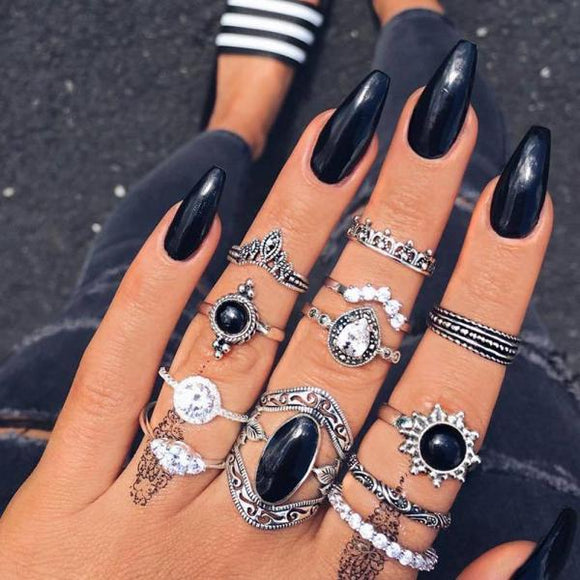 12 Pcs/set Geometric Crystal Carved Silver Finger Ring Set Women Fashion Rings Oval Gems Crown  Bohemian Vintage Jewelry Gifts-Rings-Come4Buy eShop