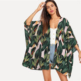 Multicolor Tropical Jungle Leaf Print Batwing Sleeve Kimono 2019 Women Summer Sleeve Vacation Longline Beach Blouses-Women Clothing-Come4Buy eShop