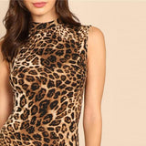 Multicolor Modern Lady Elegant Mock-Neck Leopard Print Knee Length Stand Collar Dress Autumn Women Workwear Dresses-Women Clothing-Come4Buy eShop
