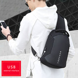 Men USB Charging Chest Pack Water Repellent Shoulder Bag Male Multifunction Crossbody Bags Short Trip Messengers Chest Bag