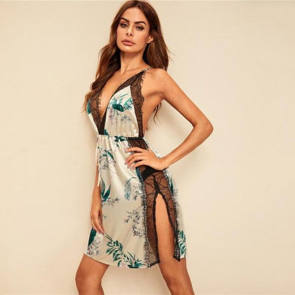 Sexy Floral Print Lace Insert Split Women Crisscross Backless Nightwear Sleepwear-Women Clothing-Come4Buy eShop