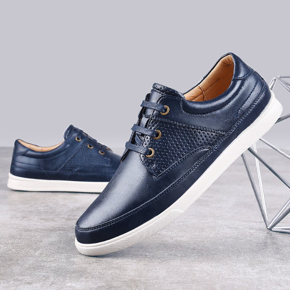White Men Shoes Black Blue British Style Casual Leather Shoes For Men Lace-up 2019 New Autumn Shoes-Men Shoes-Come4Buy eShop