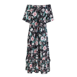 Print off shoulder summer long dress women High waist ruffle maxi dress Elegant boho dress female vestidos-Women Clothing-Come4Buy eShop