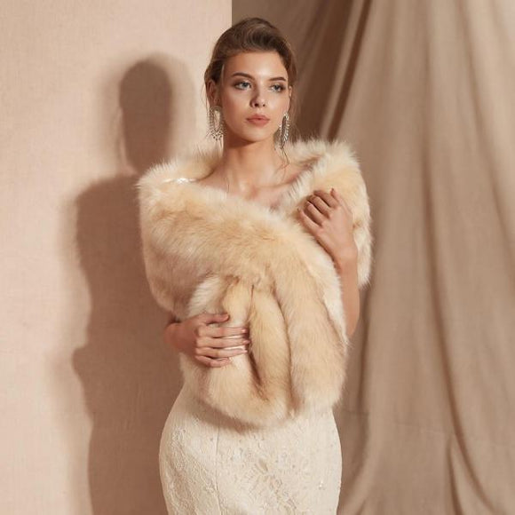 Faux Fur Stole Bridal Jacket
