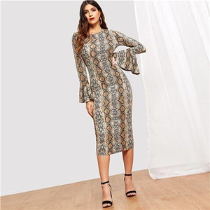 Flounce Sleeve Snake Skin Bell Sleeve Multicolor Round Neck Long Sleeve Fit and Flare Dress Women Casual Modern Lady Dress-Women Clothing-Come4Buy eShop