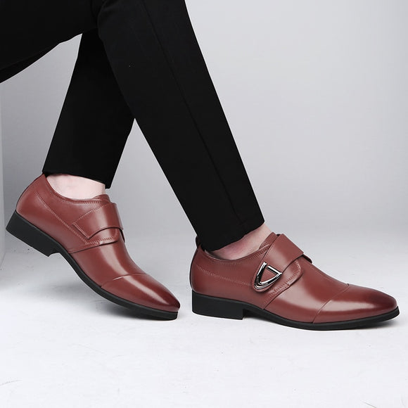 Buckle Strap Elegant Dress Shoes Pointed Toe British Lightweight Soft Casual Men Formal Oxfords-Men Shoes-Come4Buy eShop
