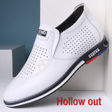 5 CM Height Increase Hollow Split Leather Casual Men Sneakers Men Elevator Shoes Luxury Shoe White-Men Shoes-Come4Buy eShop