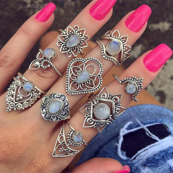 9 Pcs/set Ring Set Women Fashion Hollow Flower Water Drop Crown Opal Gem Silver Joint Personality Charm Jewelry Gift-Rings-Come4Buy eShop